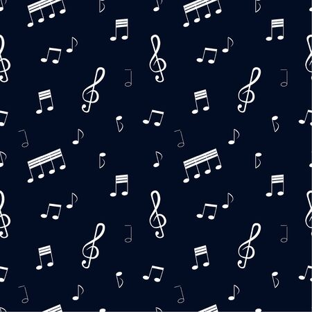 Seamless pattern: white notes and musical signs on a blue background. vector. illustration Иллюстрация