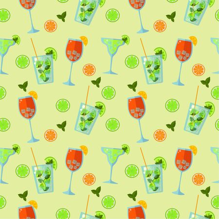 Seamless funny pattern of summer low-alcohol cocktails. Aperol spritz and mojito on a green background. flat vector. illustration Seamless funny pattern of summer low-alcohol cocktails. Aperol spritz and mojito on a green background. flat vector. illustration