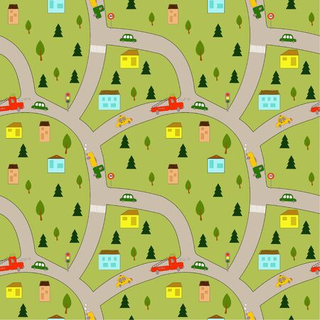 Seamless picture: children's map of the city with roads, cars and houses. Flat vector. illustration
