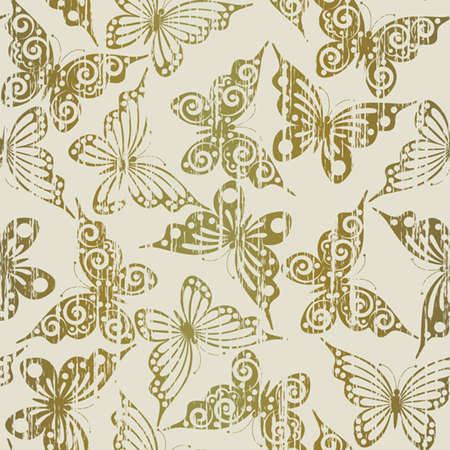 Seamless pattern  with gold grunge butterflies(can be repeated and scaled in any size) Vector