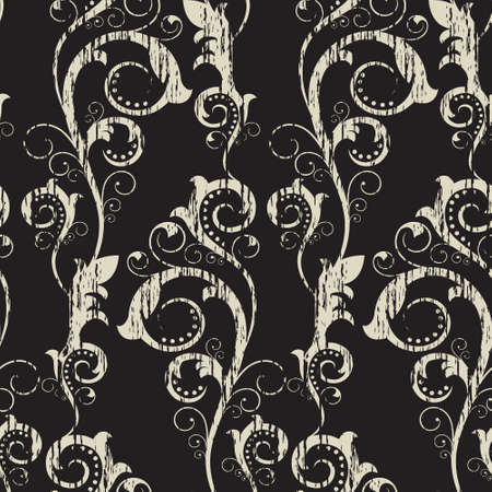 Seamless pattern with  abstract  branches on a  black background(can be repeated and scaled in any size) Vector