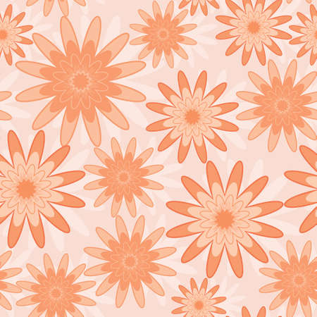 Seamless pattern with orange abstract flowers (can be repeated and scaled in any size) Vector