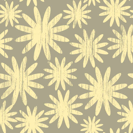 Seamless pattern with grunge abstract flowers on a beige background(can be repeated and scaled in any size) Vector