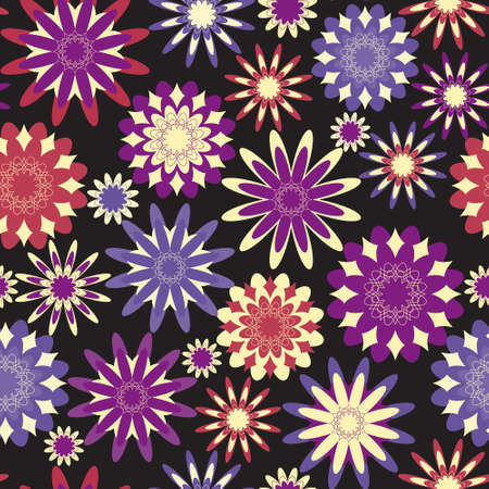 Seamless pattern with bright abstract flowers on a black background(can be repeated and scaled in any size) Vector