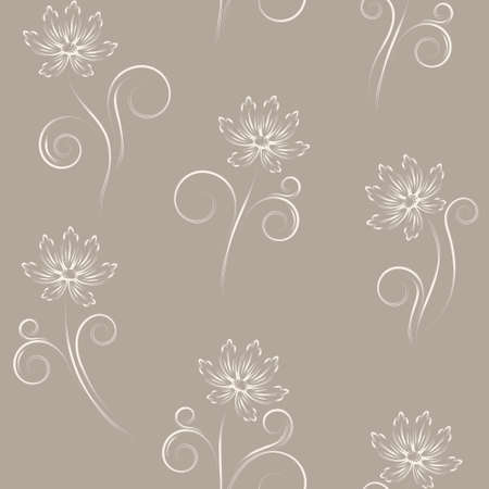Seamless pattern with beige abstract flowers (can be repeated and scaled in any size) Vector