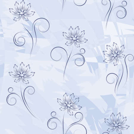 Seamless pattern with  abstract flowers on dark blue background (can be repeated and scaled in any size) Vector