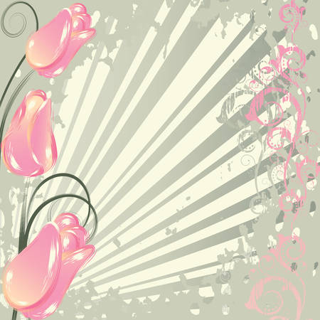 Grunge background with   abstract  pink tulips and  branches Vector