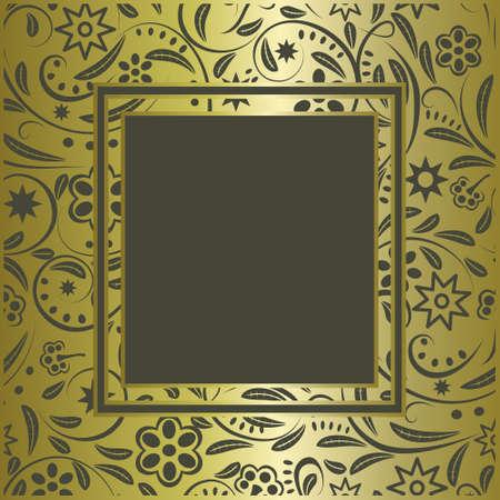 vintage gold frame: Vintage gold  frame with flowers on a green background