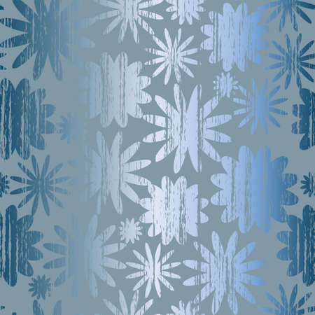 Seamless pattern with grunge abstract flowers on a blue background(can be repeated and scaled in any size) Vector