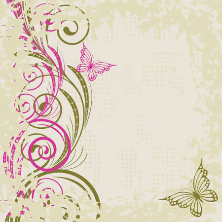 Beige grunge background with   abstract   pink butterfly and  branches