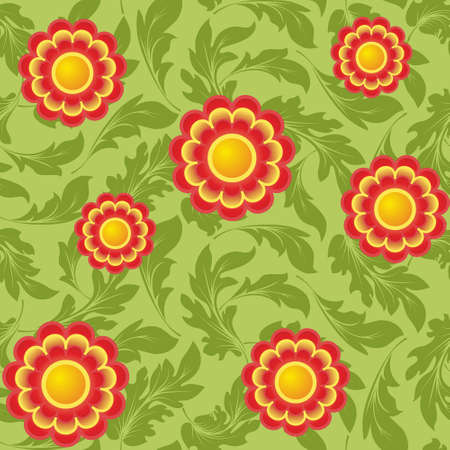 Seamless pattern with bright abstract flowers on a green background(can be repeated and scaled in any size) Vector