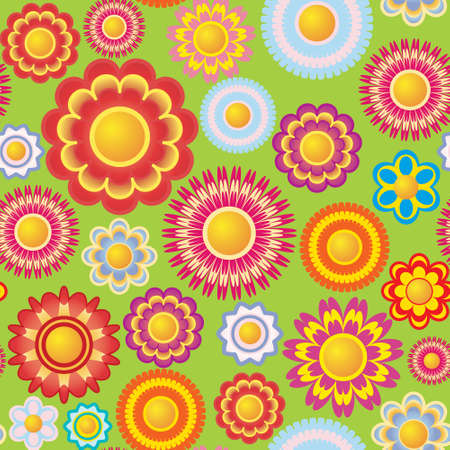 Seamless pattern with bright multi-coloured flowers Vector