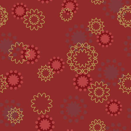 Seamless pattern with beige and red abstract flowers (can be repeated and scaled in any size) Vector