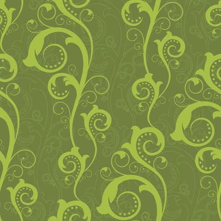 Seamless pattern with green abstract plants(can be repeated and scaled in any size) Vector