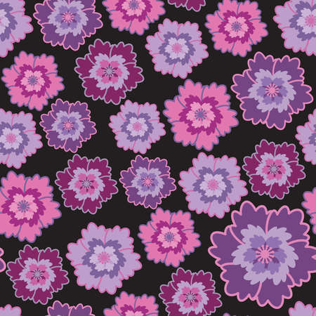 Seamless pattern with pink and lilac abstract flowers (can be repeated and scaled in any size) Vector