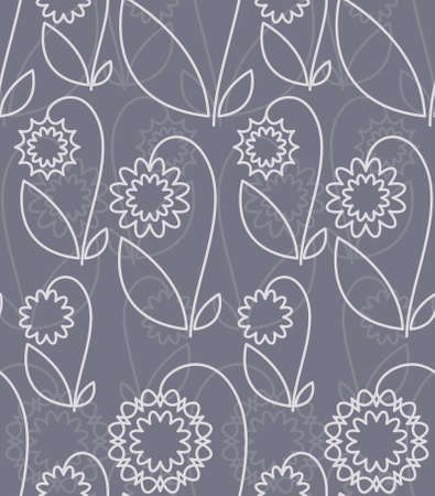 Seamless pattern with white abstract flowers on grey background (can be repeated and scaled in any size) Vector