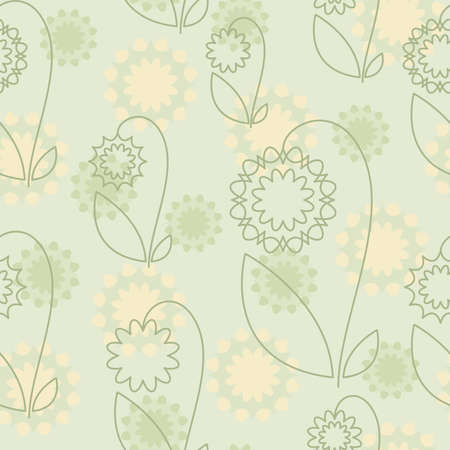 Seamless pattern with yellow and green abstract flowers on green background (can be repeated and scaled in any size) Vector
