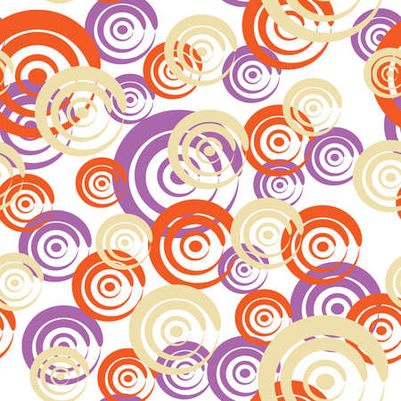 Seamless pattern with yellow, lilac and red curls on a white background(can be repeated and scaled in any size) Vector