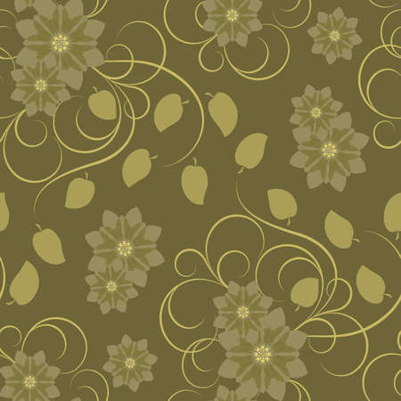 Seamless pattern with brown abstract flowers and swirls(can be repeated and scaled in any size) Vector