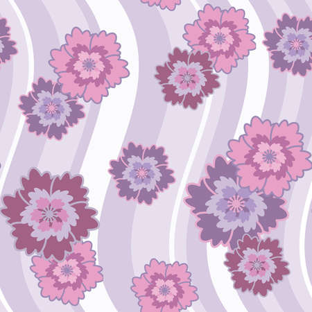 Seamless pattern with lilac and pink abstract flowers and lines(can be repeated and scaled in any size) Vector