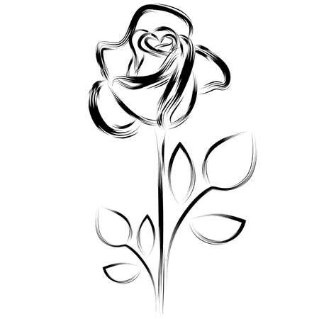 flower line: Black silhouette of a rose on a white background