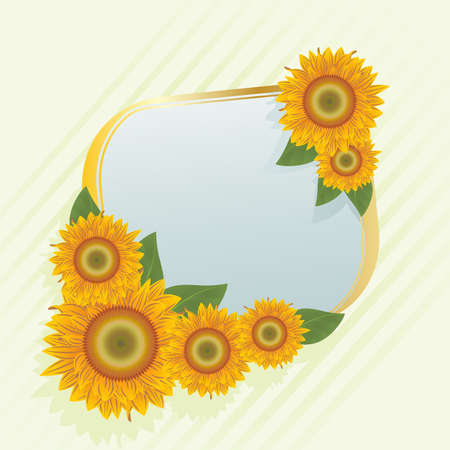 Abstract orange sunflowers with gold frame on the green striped background  Vector
