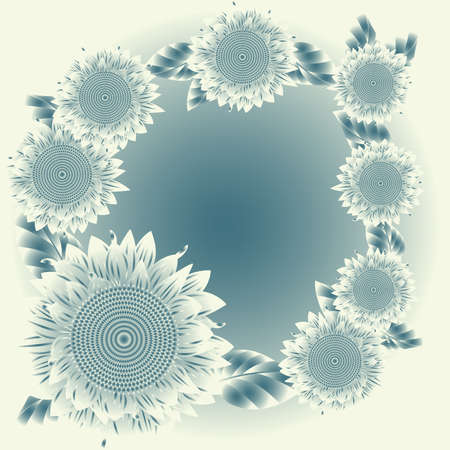negativity: Background with abstract  blue sunflowers
