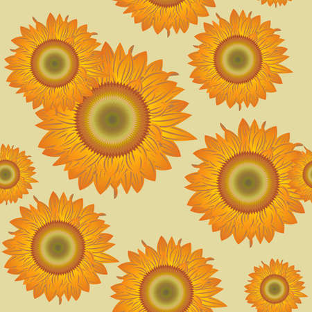 Seamless pattern with orange abstract sunflowers(can be repeated and scaled in any size) Vector