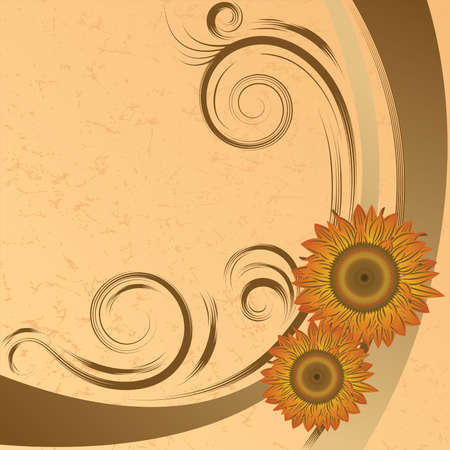 Abstract orange sunflowers on the brown grunge  background  Vector