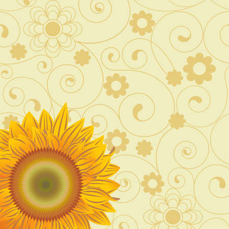 biege: Background with  chaotic lines and an abstract flowers and sunflower