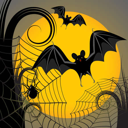 Halloween frame with yellow moon, spider and a web Vector