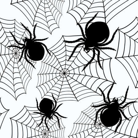 Halloween seamless  with black spiders and a web (can be repeated and scaled in any size) Vector