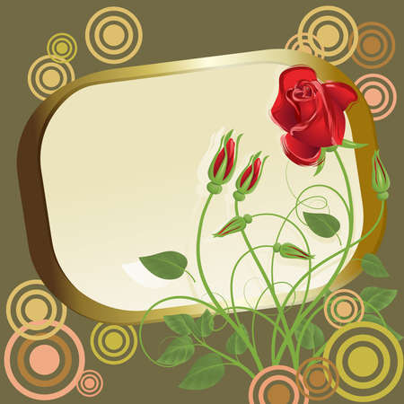 Abstract red roses with gold frame and circles Vector