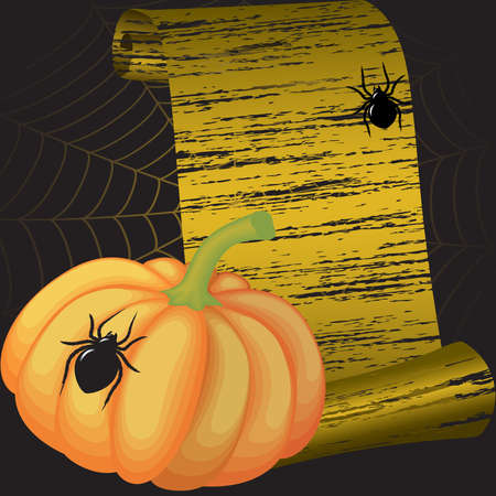 Halloween frame with pumpkin , spiders and a web Vector