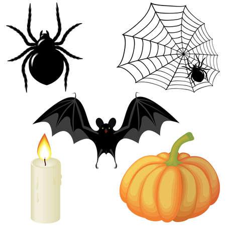 Halloween elements for  decorating a spider, a web, a candle, a pumpkin, a bat  Vector