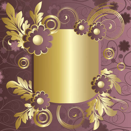 claret: Frame with   abstract claret flowers and  gold leaves