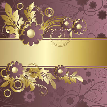 claret: Background with   abstract claret flowers and  gold leaves Illustration