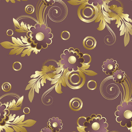 claret: Seamless pattern with claret abstract flowers and gold leaves.(can be repeated and scaled in any size) Illustration