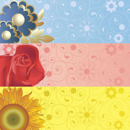 Background with   abstract blue, yellow, red flowers  Vector