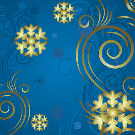 Blue background with gold snowflake and frosty patterns Vector
