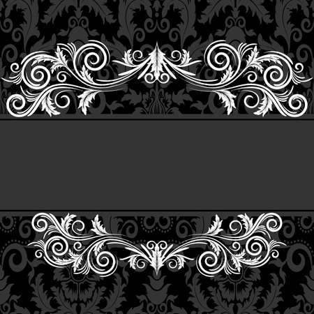free place: Vintage frame with swirl  on a black background  Illustration