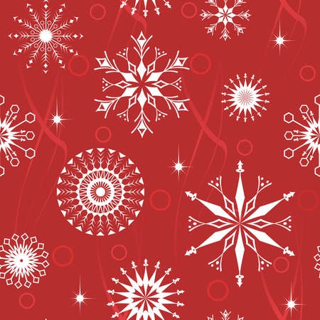 Red seamless pattern from  snowflakes(can be repeated and scaled in any size) Vector