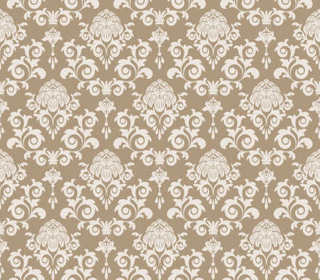 any size: Seamless pattern from  beige flowers and leaves(can be repeated and scaled in any size) Illustration