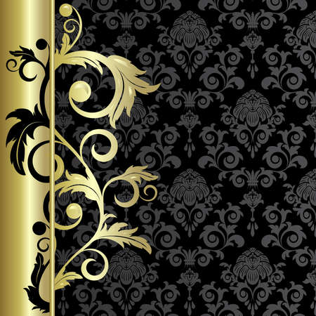 gold swirls: Black background with   abstract gold  branch  and leaves