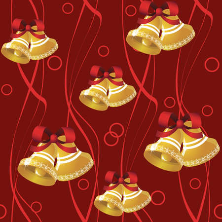 Seamless pattern from  bells and  tapes on the red background.(can be repeated and scaled in any size) Vector