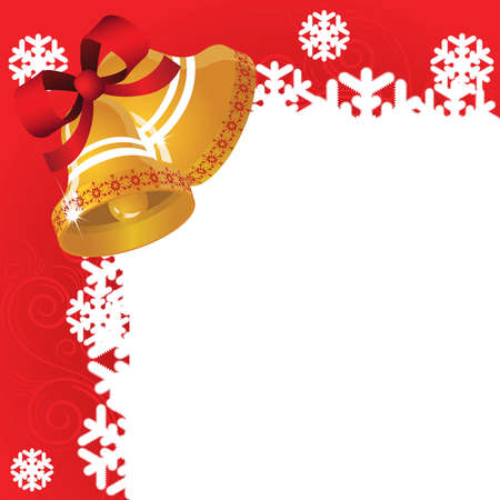 Red  background with  bells and frosty patterns Vector