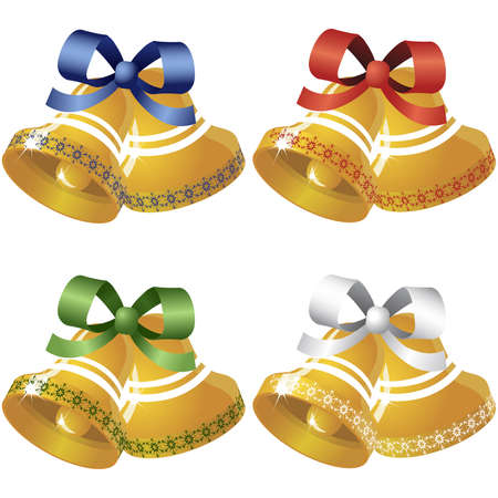 Set of four christmas bells of different colors Vector