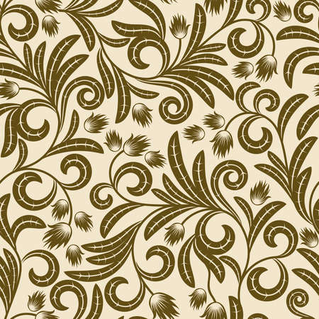 scaled: Seamless pattern from  brown flowers and leaves(can be repeated and scaled in any size)