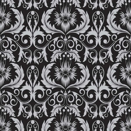 repeated: Seamless pattern from   grey  flowers and leaves(can be repeated and scaled in any size)