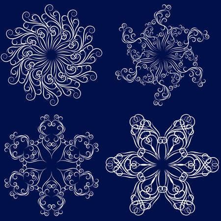 openwork: Set of four  motif openwork snowflakes  Illustration